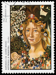 Stamp printed in Guinea-Bissau shows Spring by Botticelli