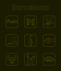 Set of Barcelona simple icons