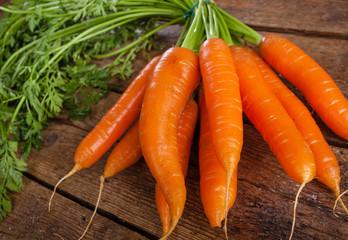 Bunch of fresh organic carrots.