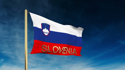 Slovenia flag slider style with title. Waving in the wind with
