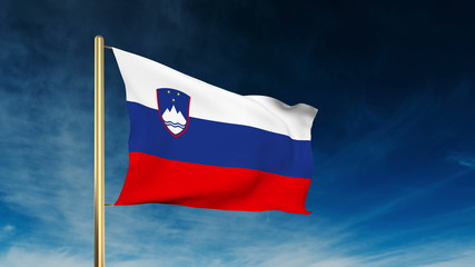 Slovenia flag slider style. Waving in the wind with cloud