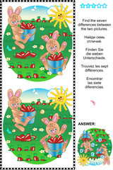 Find the differences visual puzzle - bunnies harvesting carrots