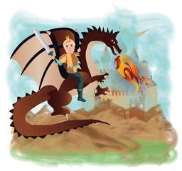 Brave prince and magic dragon, vector illustration