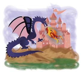 Fantastic Dragon and magic castle, vector illustration