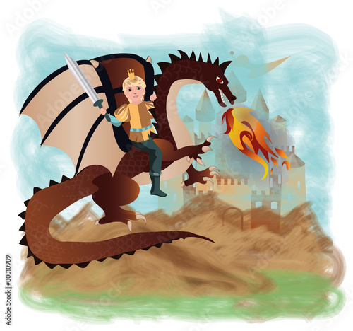 Foto op Aluminium Kasteel Brave prince and magic dragon, vector illustration