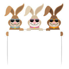 3 Easter Bunnies Sunglasses Holding Banner