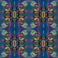 Beautiful symmetrical background from fractal tracery. On dark-b