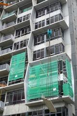 Construction site of a modern skyscraper