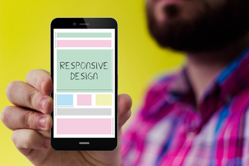 Hipster smartphone with responsive design on the screen