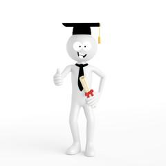 3D Mensch bei Graduation an der Hochschule