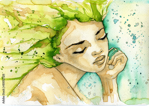 Fototapety, obrazy : abstract watercolor illustration depicting a portrait of a woman