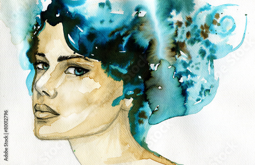 abstract watercolor illustration depicting a portrait of a woman - 80012796