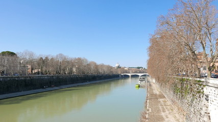 Tiber from Ponte Sisto. Rome, Italy