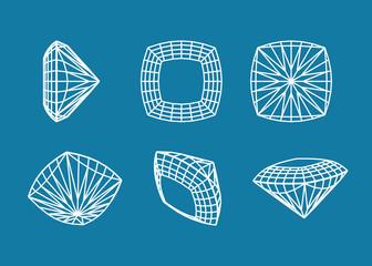 illustration of  set with precious gemstones different shape