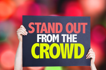Stand Out From the Crowd card with bokeh background