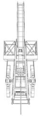 Oil pump jack. Vector rendering of 3d