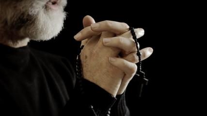 Religion pray hands rosary words