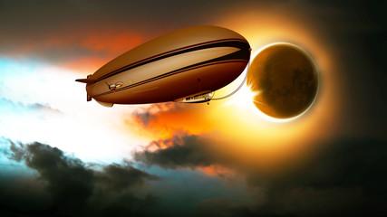 Sonnenfinsternis, Zeppelin, Luftschiff am Himmel