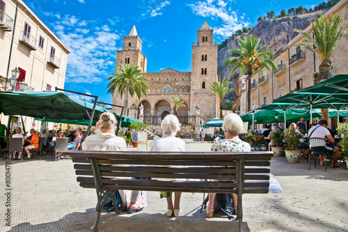 Main square of Cefalu, medieval city of Sicily, Italy. - 80014784