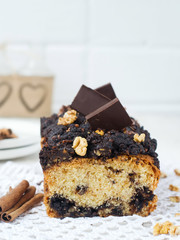 Nut and chocolate cake with cinnamon