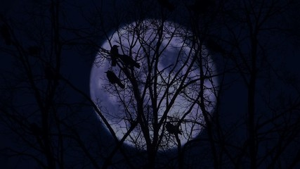 Crows on branches in the moonlit night.