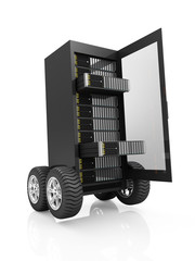 Modern Server Rack with open Door on Wheels isolated on white