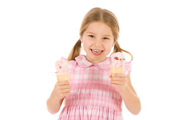 Ice Cream: Girl Holds Two Ice Cream Cones