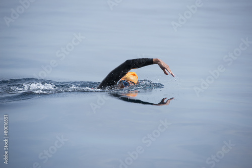 Fotobehang Water Motorsp. Unknown Swimmer at sea.