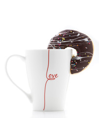 Brown Donut with White Mug