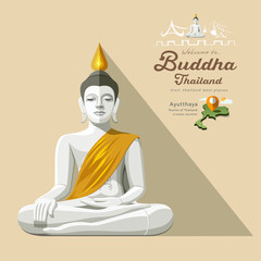 White Buddha and yellow robe of Thailand