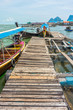 The wooden pier in Phang Nga bay national park of Thailand