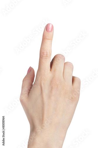 Leinwandbild Motiv female hand index finger pointing up isolated