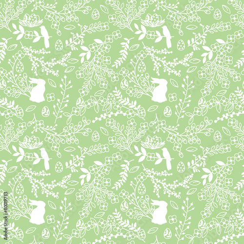 Materiał do szycia Vector Seamless Tileable Easter Background Pattern with Flowers