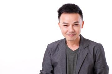 portrait of confident, happy, positive asian man face