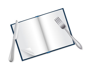 open book, fork and knife reading and food concept