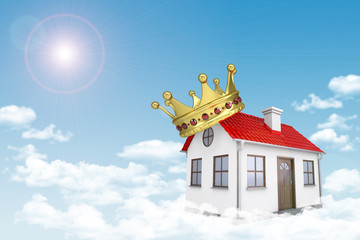 White house with red roof, crown and chimney in cloud