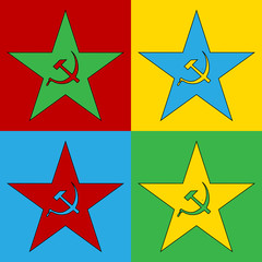 Pop art communism star symbol icons.