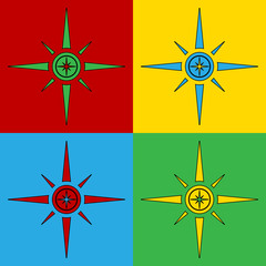 Pop art compass symbol icons.