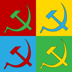Pop art hammer and sickle symbol icons.