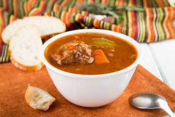 Beef stew with vegetables. Goulash soup.