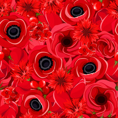 Seamless background with various red flowers. Vector.