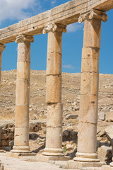 Semi-circle of columns forming a plaza at the ancient ruins of J