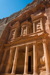 The treasury building carved into the roack face at Petra in Jor
