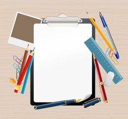 background with clipboard and office supplies