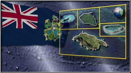 Pitcairn Islands flag and map animation FULL-HD