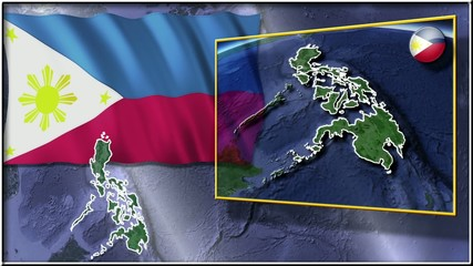 Philippines flag and map animation FULL-HD