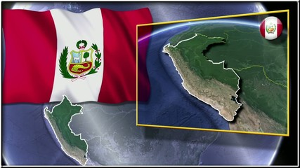Perú flag and map animation FULL-HD