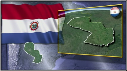 Paraguay flag and map animation FULL-HD