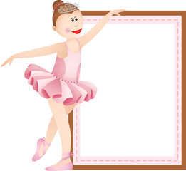 Ballerina girl with blank sign