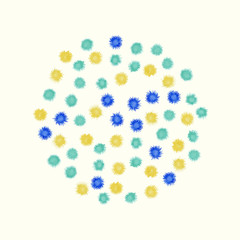 Colorful watercolor circle painted from small blue and yellow